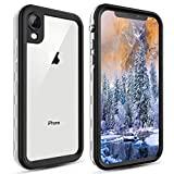 FXXXLTF Waterproof iPhone XR Case, Underwater Full-Body Rugged Clear Bumper Shockproof Snowproof Case with Built-in Screen Protector for Apple iPhone XR (White)