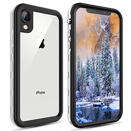 Waterproof iPhone XR Case, Underwater Full-Body Rugged Clear Bumper Shockproof Snowproof Case with Built-in Screen Protector for Apple iPhone XR (White)
