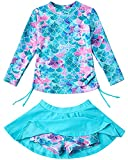 Bathing Suits for Girls 2 Pieces Swimsuits Mermaid Rash Guard Skirt 7T 8T Blue