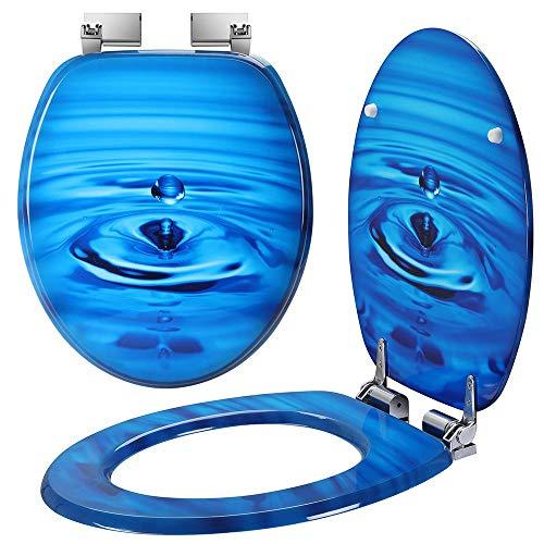 Bakaji Copriwater Universale con Stampa Serigrafata Copri Tavoletta WC per Bagno in Legno MDF con Cerniere Rettangolari in Lega di Zinco Design Moderno Dimensione 43,5 x 37,5 x 5 cm (Goccia Acqua)