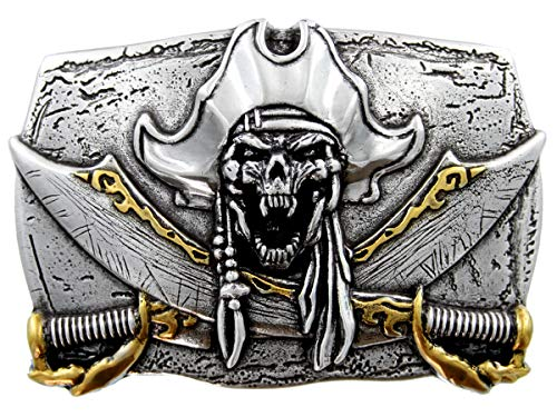 Pirate Belt Buckle Skull Jolly Roger Antique Silver Gold Crossed Swords Punk