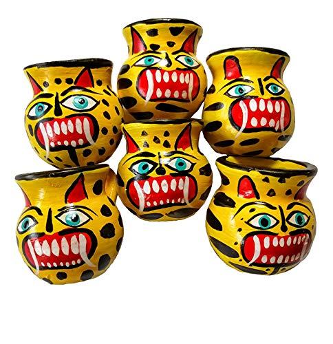 Jaguars Mexican Jarritos Set of 6 Handmade Traditional Tequila & Mezcal Clay Shot Glasses.