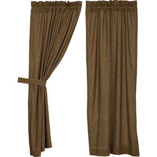 VHC Brands Tea Cabin Green Plaid Short Panel Set of 2 63x36 Country Rustic Curtains, Moss Green