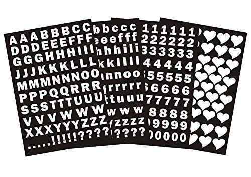 das-label Buchstaben groß und klein - Zahlen und Herzen als Minikollektion Design No.3 ca. 1 cm Höhe | Weiss Vinyl Glanz | selbstklebend |Scrapbook | Sticker | Aufkleber | zum Beschriften