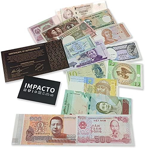 IMPACTO COLECCIONABLES Colección de Billetes del Mundo - 15 Billetes de 15 Diferentes países del Mundo