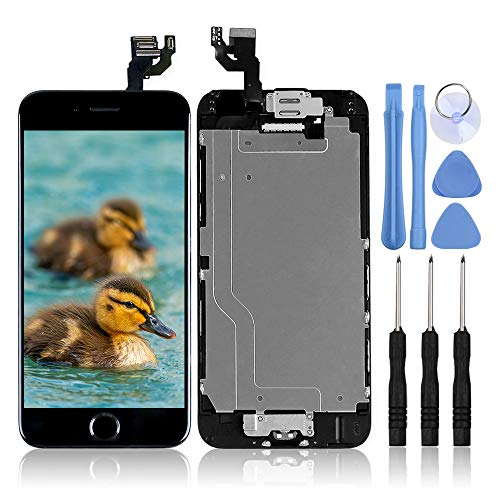 for iPhone 6 Digitizer Screen Replacement Black - Ayake 4.7'' Full LCD Display Assembly with Home Button, Front Facing Camera, Earpiece Speaker Pre Assembled and Repair Tool Kits