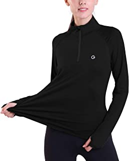 Ogeenier -Women's Running Shirts Quick Dry Long Sleeve Yoga Tops with Pockets Yoga Jacket 1/2 Zip Pullover