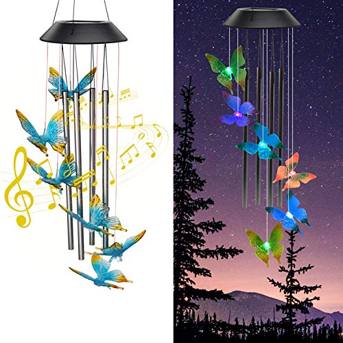 Zawino Solar Wind Chimes for Outside Butterfly Windchimes with Music Metal Tubes 7 Colors Changing LED Lights Waterproof Wind Bells for Indoor Outdoor Garden Patio Decor Love Memorial Mom Gift