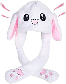 Mimgo-Shop Funny Plush Bunny Hat Ear Moving/Jumping Rabbit Hat Cute Animal Ear Flap Hat with Paws for Women Girls