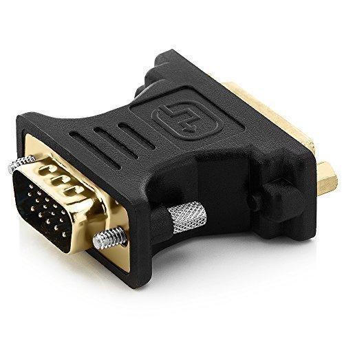 deleyCON DVI-I zu VGA Adapter - DVI-I Buchse (24+5) zu VGA Stecker - vergoldete Steckkontakte - Monitor PC Beamer Grafikkarte - Schwarz