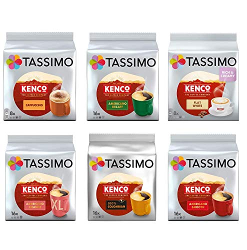 Tassimo Kenco Lovers Coffee Bundle - Kenco Cappuccino/Decaf/Flat White/Americano Grande/Colombian/Americano Smooth - 6 Packungen (80 Portionen)