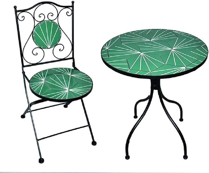 Tavolo in ceramica decorata con 2 sedie  - arredo da giardino B08YP24SV1