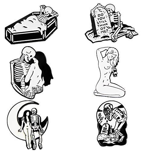 Enamel Pins set Cute Cartoon Brooches Lapel Badge Women Clothing Bag Decor (White1)