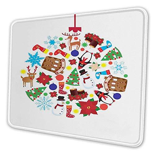 Rechteckiges Mousemat-Mousepad, traditionelles Noel-Symbolthema mit Kiefern-Schneemann-Pinguin-Socken und Rentier