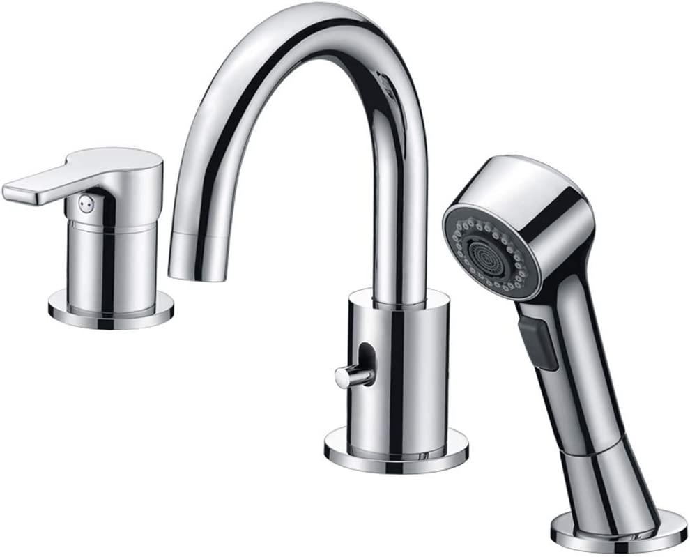 CREA Bathroom Faucet 20 Hole Bathtub Widespread Sink Faucets Chrome with  Shower Diverter Pull Out Shower Head Roman Bathtub Waterfall Spout Filler  ...