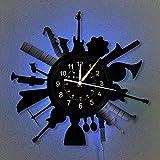 wtnhz LED-Reloj de Pared con música Reloj con Disco de Vinilo de 12 Pulgadas Amantes de la música para la decoración del hogar | Reloj de Pared con Luces Colgantes.