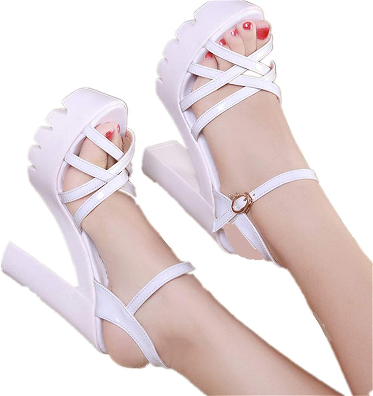 LLZY Womens Platform High Heels Ankle Strap Peep Toe Sandal