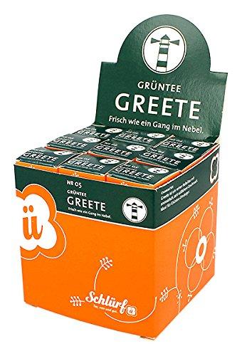 Schlürf Schlürfel Bio Grüner Tee   Greete No. 5   1 Display mit 27 Teebeutel Würfel  Tee Box   Grüntee   Grün Tee im Pyramidenbeutel einzeln verpackt   67,5 g