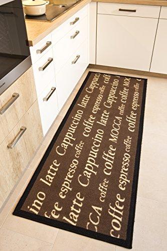Andiamo Küchenläufer im Coffee Design-Kurzflor Läufer aus 100% Polyamid waschbar-Mocca 67 x 180 cm Teppich