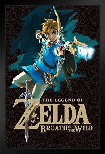 Pyramid America Legend of Zelda Breath of The Wild Link with Bow Videospiel, gerahmt, Holz, 61 x 91 cm