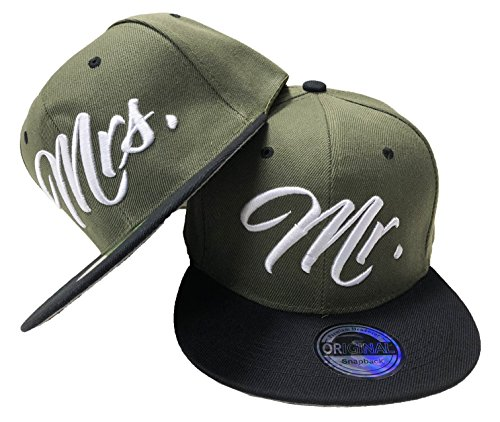 JameStyle26 Mr. & Mrs. Snapback Set USA Cap Kappe Basecap Mütze Trucker Cappy Kult (Mr. Mrs. Set Oliv)