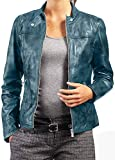 Black Leather Jacket Women | Womens Motorcycle Jacket | Womens Leather Jacket | Lambskin Fight Club Jacket (Aqua Green, XXS) from