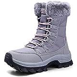 VLOOKST Botas de Senderismo Mujer Impermeable Zapatillas de Senderismo Invierno Calentar Forrado Botas de Nieve Aire libre Antideslizante Zapatillas Deportivo Snow Boots Botas de Trekking Gris 38EU