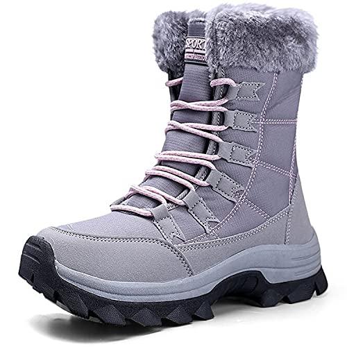 VLOOKST Botas de Senderismo Mujer Impermeable Zapatillas de Senderismo Invierno Calentar Forrado Botas de Nieve Aire libre Antideslizante Zapatillas Deportivo Snow Boots Botas de Trekking Gris 41EU