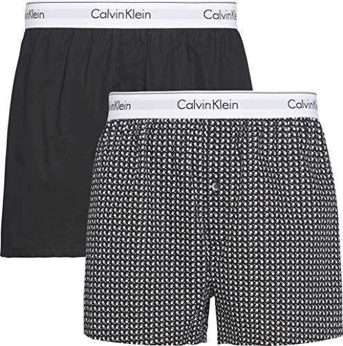 Calvin Klein Herren Boxer Slim 2pk Boxershorts, Schwarz (Black/Daisy Dot Bdt), Large