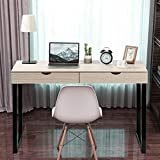2020 New Computer Desk, 47.2 inches with 2 Storage Drawers for Home Office Writing Desk, Makeup Vanity Console Table, White