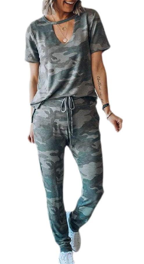 傑出した負担克服するWomen 2 Piece Outfits Tracksuit Sets Camo Print Tee and Jogger Pants