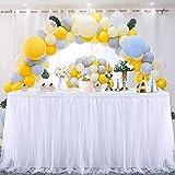 Jupe de table en tulle, MineSha fait à la main 2 verges 3 couches maille moelleux Tutu Jupe de table pour la fête, mariage, fête d'anniversaire, décoration de douche de bébé (L6(ft)*H 30in, Blanc)