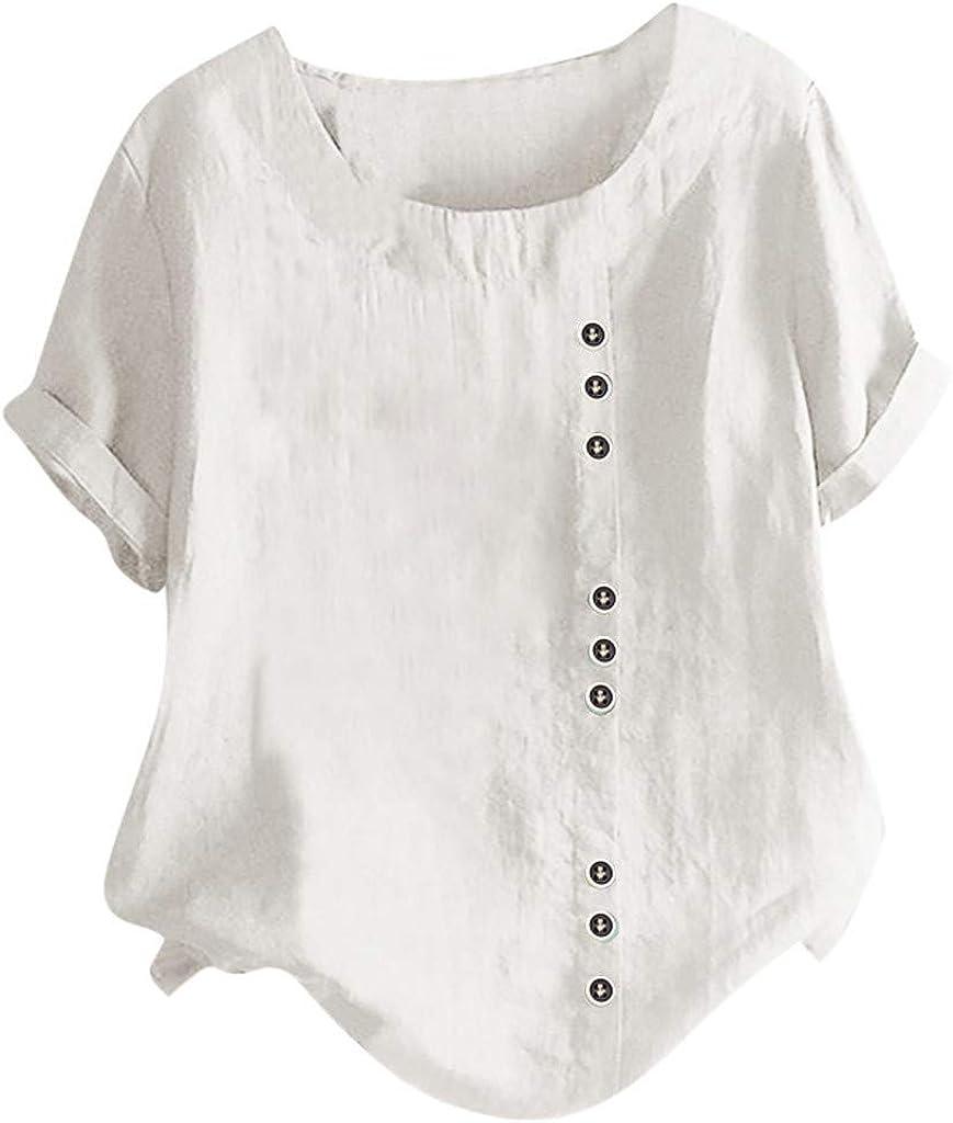 Women's Casual Loose Button Linen Blouse Plus Size Print Boho Tunic Shirt Tops