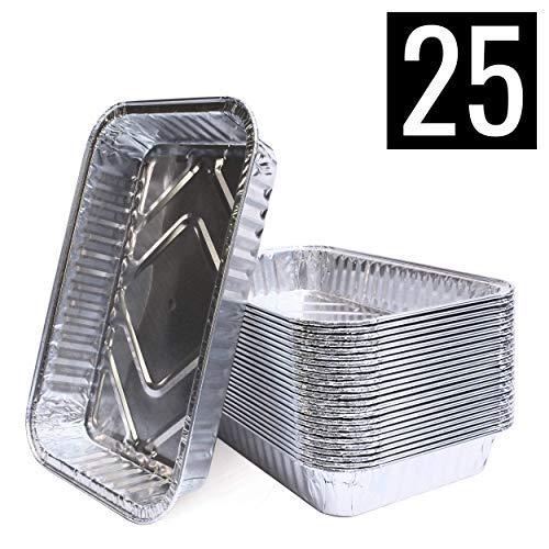 Mamatura Aluschalen | 25 Stück | Passend für Landmann Pantera | 21 x 14 cm, 680 ml | Alu-Tropfschalen, Grillschalen