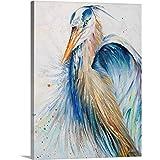 New Blue Heron II Canvas Wall Art Print, Bird Artwork