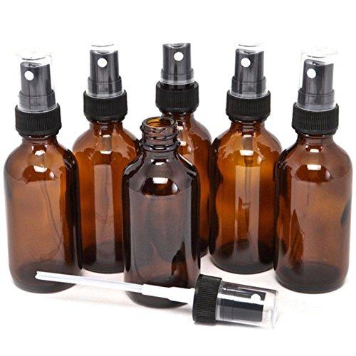 Sprühflaschen aus bernsteinfarbenem Glas, 5–100 ml, tragbar, für ätherisches Öl, Flüssigkeit, Parfüm, Kosmetik, 5 Stück, 100ml, 1
