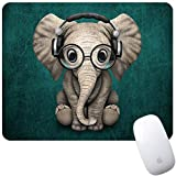 Marphe Mouse Pad Green Pattern Headset Music Elephant Mousepad Non-Slip Rubber Gaming Mouse Pad Rectangle Mouse Pads for Computers Laptop mice gaming May, 2021