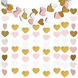 2 Paquete Guirnaldas de Papel para la Fiesta de la Cortina de la Boda,Colgante con Forma de Pancarta Guirnalda del empavesado para el Aniversario de la niña Decoración (Gold,BlancoyRosa)