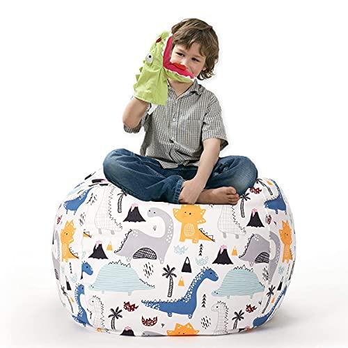 Housse de Pouf Poire pour Enfants,Fauteuils Poire de Type Rangement Avec Fermeture éclair pour organiser des jouets en peluche pour enfants,32in - Dinosaures en Tissu Polyester épais à Imprimer