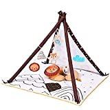 Baby Play Gym, Baby Play Teepee Camping Theme, Stage-Based Developmental Baby Gym and Playmats,Play Gym for Baby, Newborn, Infant Activity Gym with 6 Sensory Animal Toys and Pillow