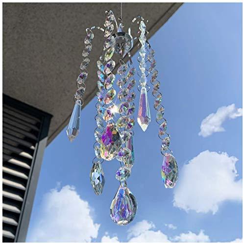 HampD HYALINE amp DORA Chandelier Wind Chimes AB Coating Crystal Prisms Hanging Suncatcher Pendant Home Decor Gifts