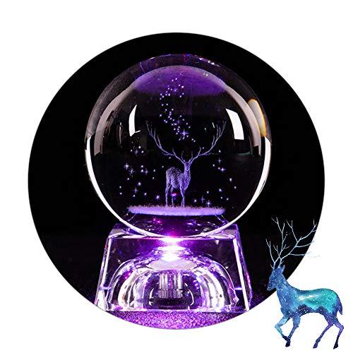 3D Elch Kristallkugel 80mm Glaskugel Fotografie K9 Glas Lensball mit LED-Lichtbasis 3D-Lasergravur Crystal Ball Home Dekoration Geburtstags Weihnachten Geschenk