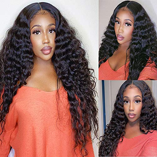 4x4 Lace Front Wigs Human Hair Deep Curly Wave Lace Front Wigs Human Hair Pre Plucked 150% Density Brazilian Curly Wigs Human Hair for Black Women Natural Hairline Wigs with Baby Hair (24 inch, 4x4 Deep Wigs)