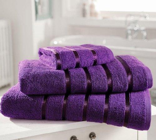 Coton égyptien 600 g/m ² Satiné rayé ultra doux Kensington Lot de 4 serviettes à main Aubergine