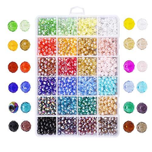 Cuentas de cristal de 6 mm, espaciador de cuentas para pulseras, collares, joyas, manualidades, 1200 unidades, 10 colores