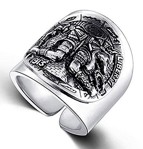 RXSHOUSH Anillo para hombre, plata S925, diseño de la personalidad de Dios egipcio, anillo de regalo para hijo y novio