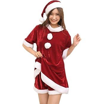 サンタ コスプレ レディース 大きいサイズ ワンピース ショートパンツ 帽子 3点セット パーティー かわいい セクシー 人気 (5L)
