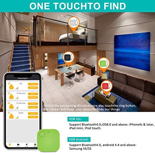 Schlüsselfinder Bluetooth, Key Finder GPS Schlüsselfinder mit APP Anti-Lost Tracker Pfeifen für Telefon Haustiere Schlüsselbund Brieftasche Gepäck, Item Finder Smart Tracker für Android/iOS, 4er Pack