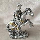 LCDIEB Escultura Caballero Plateado Soldado Escultura artística decoración Figura Caballo Estatua artesanía de Resina decoración del hogar, Gris Claro