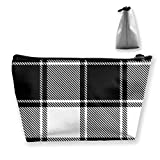 Black White Gingham Vichy Buffalo Check Multi Functional Makeup Bag Cosmetic Organizer and Toiletry Holder